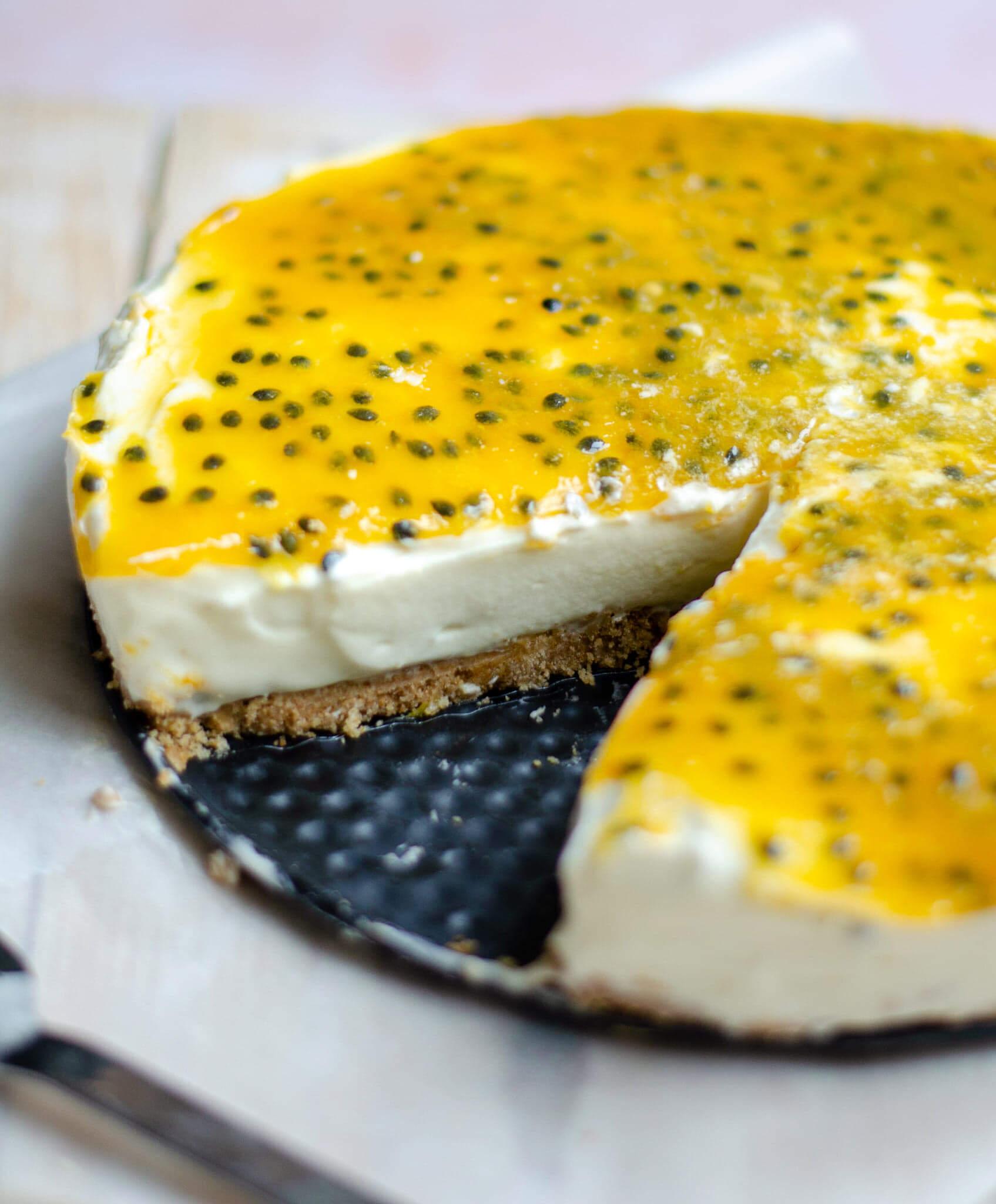 Cheesecake met witte chocola en passievrucht