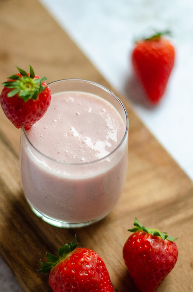 Aardbeien kefir shake