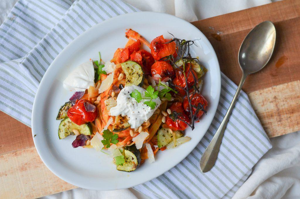 Tagliatelle gegrilde groentes en burrata